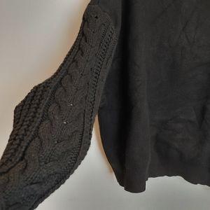 Zara textured knit accent sleeve black sweater